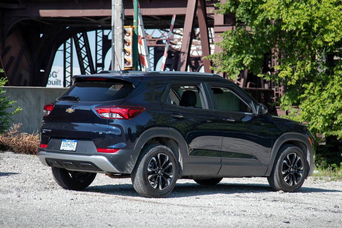 Black 2021 Chevrolet Trailblazer rear angle view