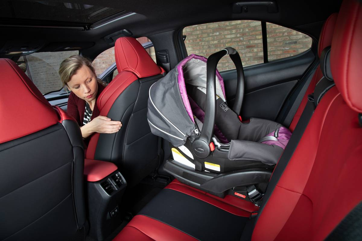 A car seat in the backseat of a 2019 Lexus UX