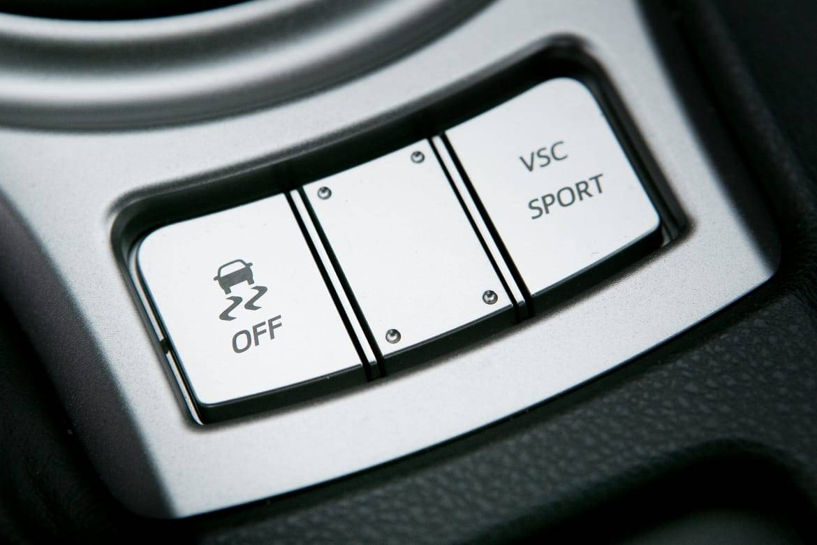 Buttons to turn traction control off and turn VSC Sport Mode on