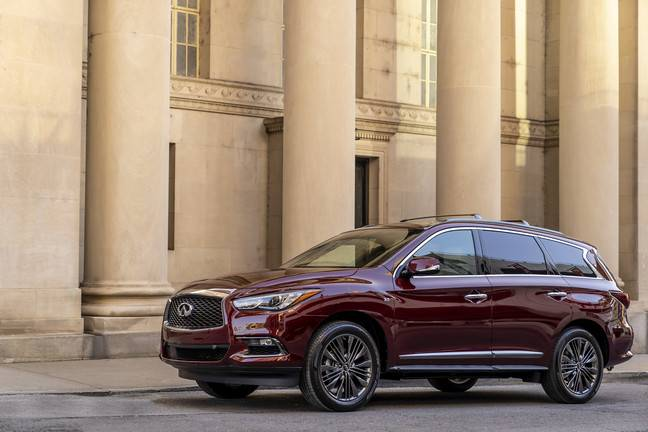 Side view of a red 2019 Infiniti QX60