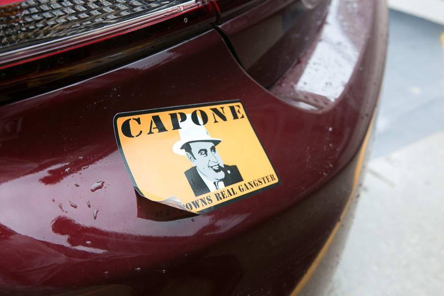 Al Capone sticker on the bumper of a car