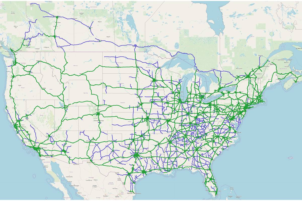 Super Cruise availability map of compatible, divided highways.