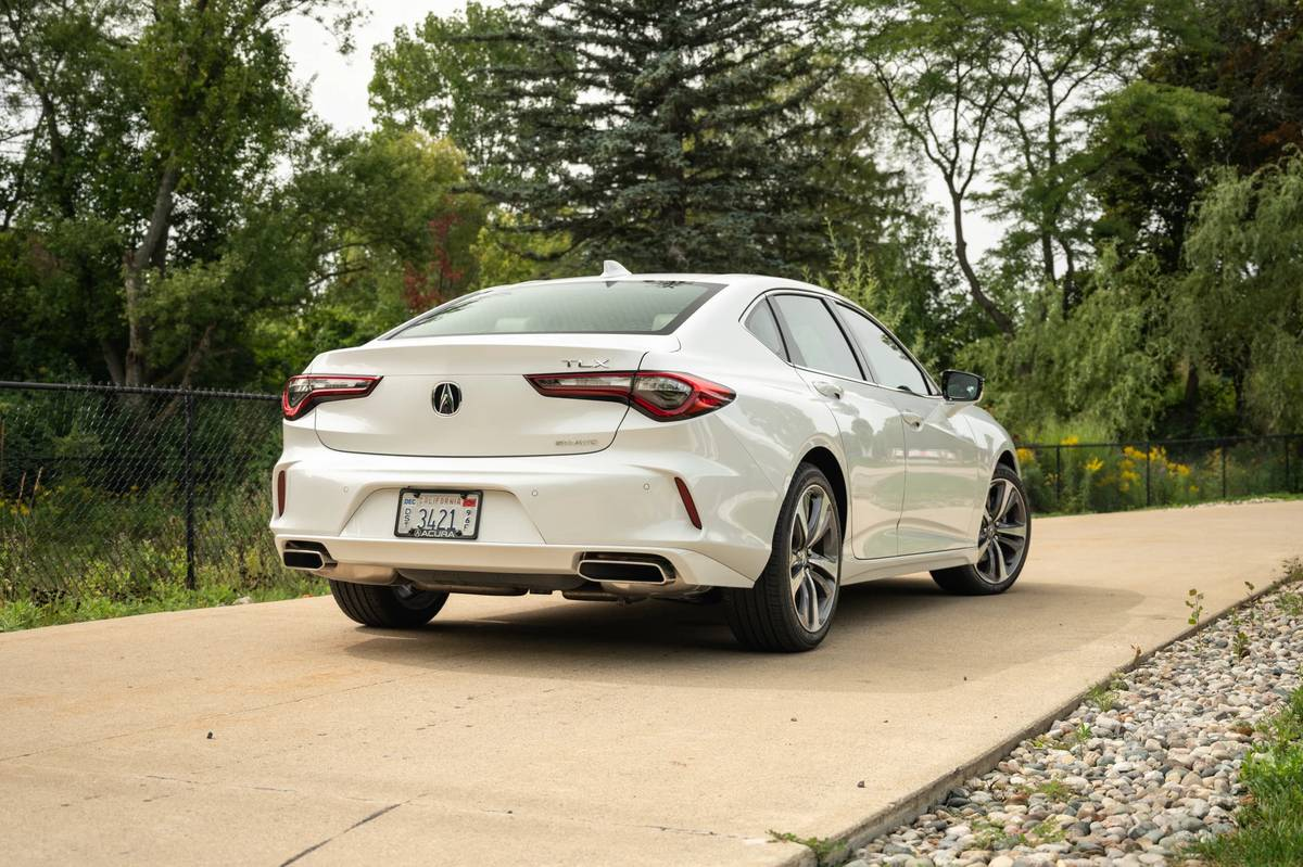 White 2021 Acura TLX rear angle view