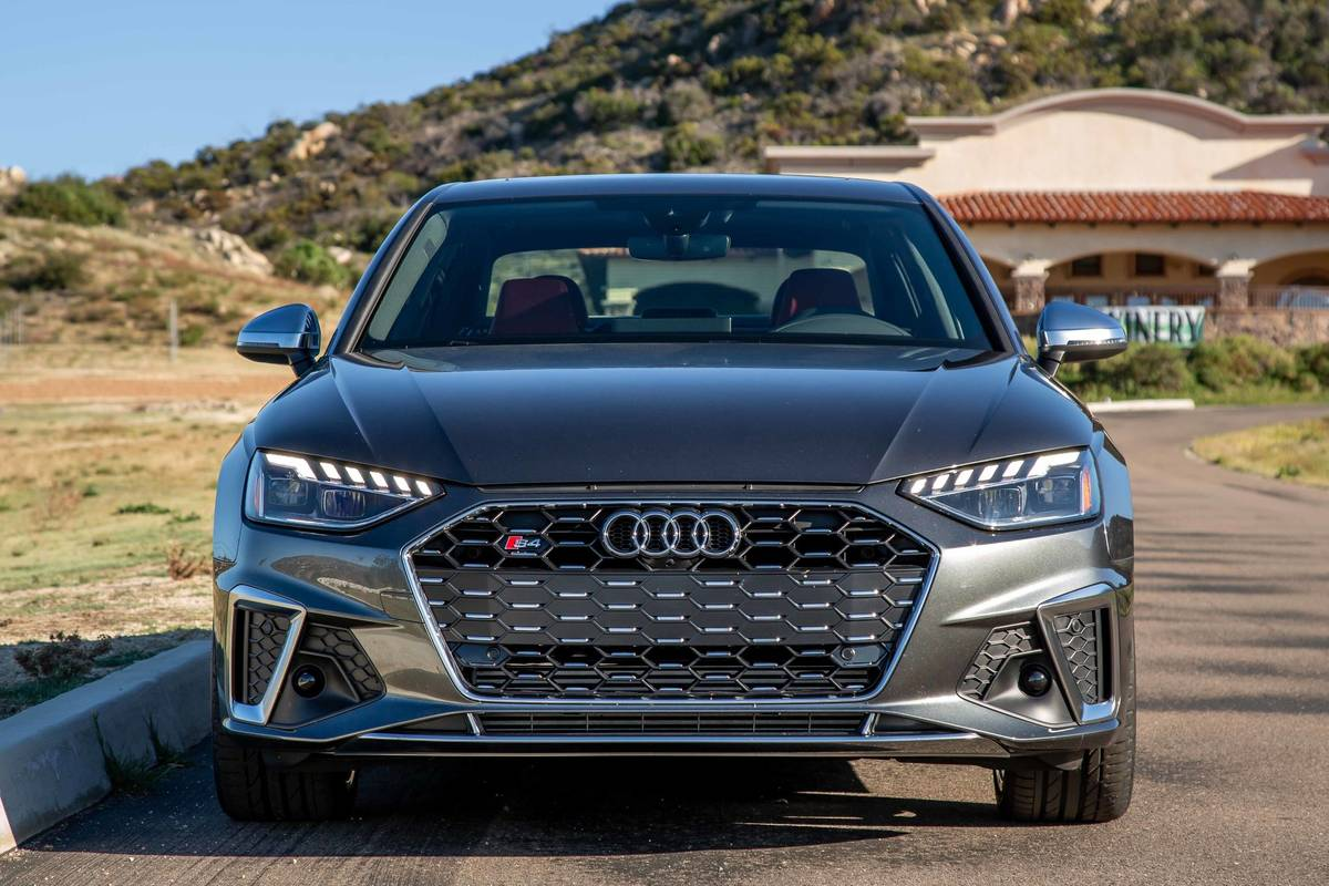 Gray 2020 Audi S4 front end and grille