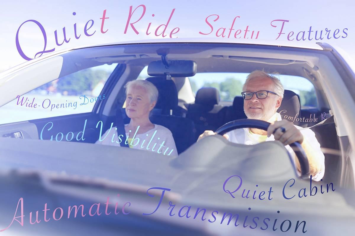Seniors driving a car