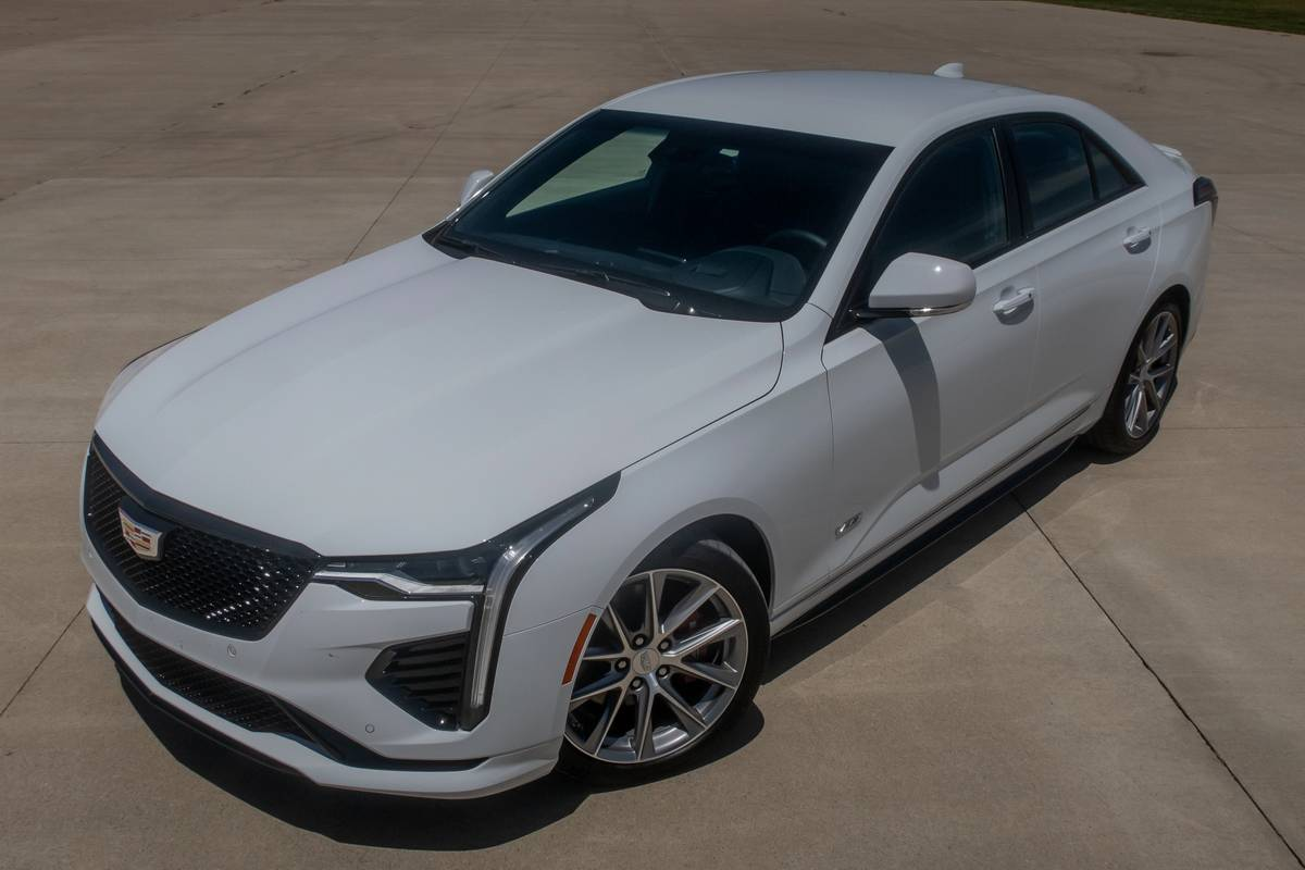 Front angle view of a white 2020 Cadillac CT4-V