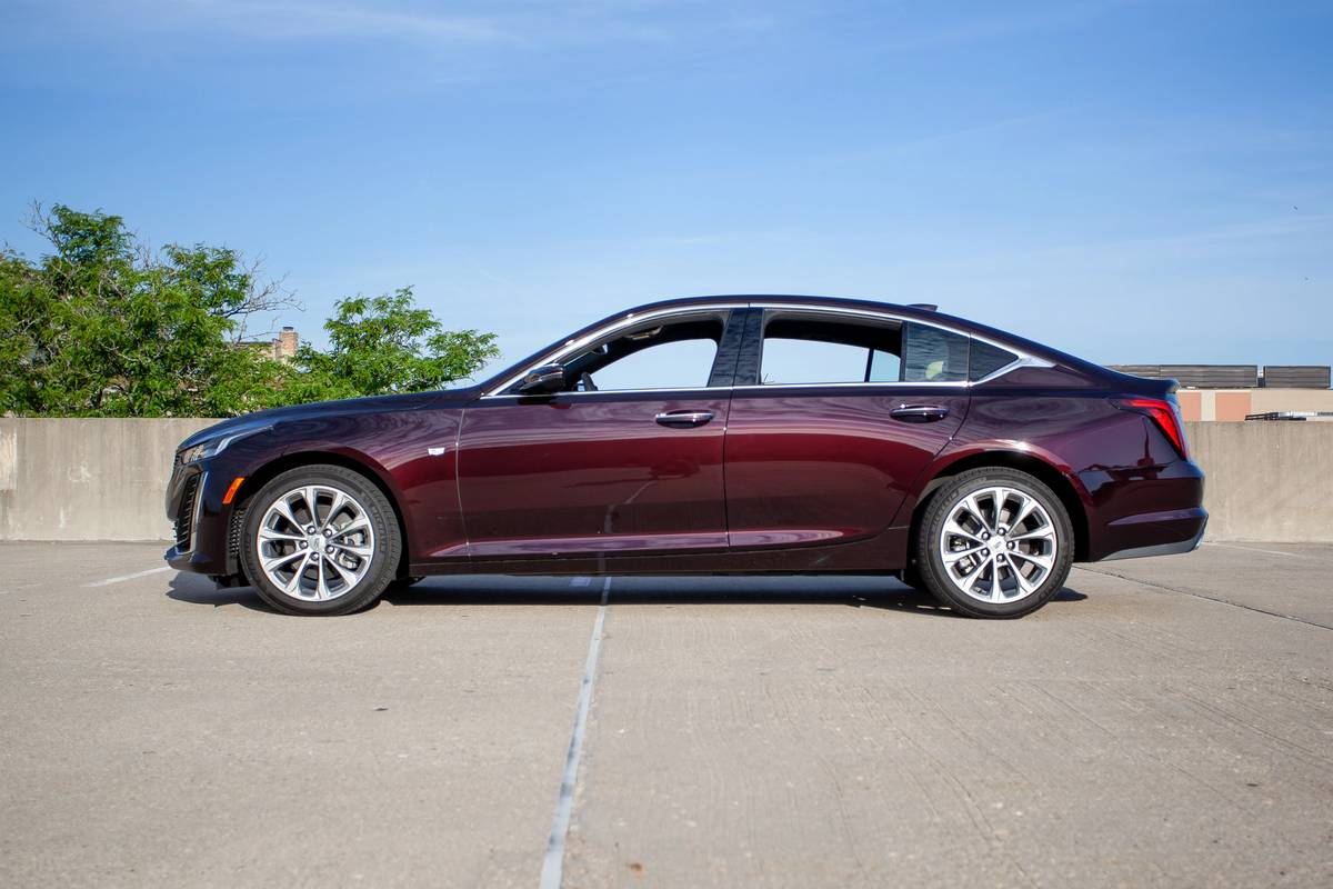 Side view of a maroon 2020 Cadillac CT5
