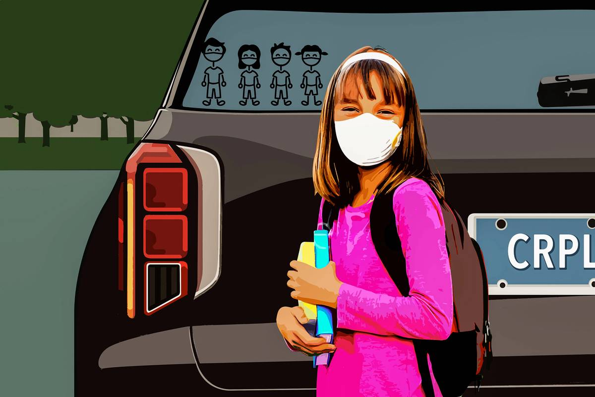An illustration of a masked girl in front of car