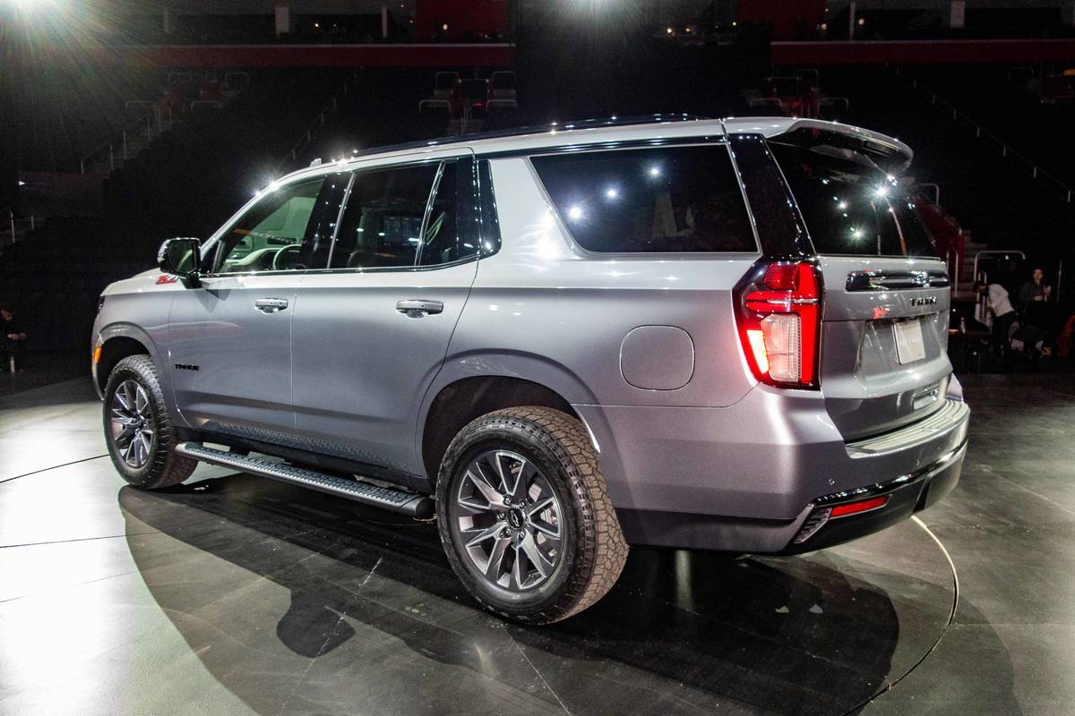 Silver 2021 Chevrolet Tahoe rear angle view