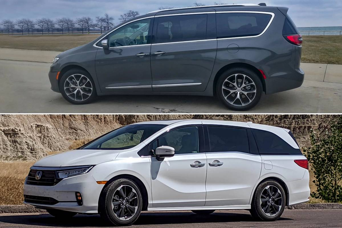 2021 Chrysler Pacifica (top), 2021 Honda Odyssey (bottom)