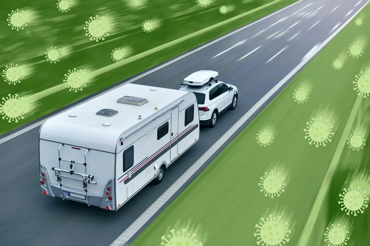 SUV towing a camper illustration