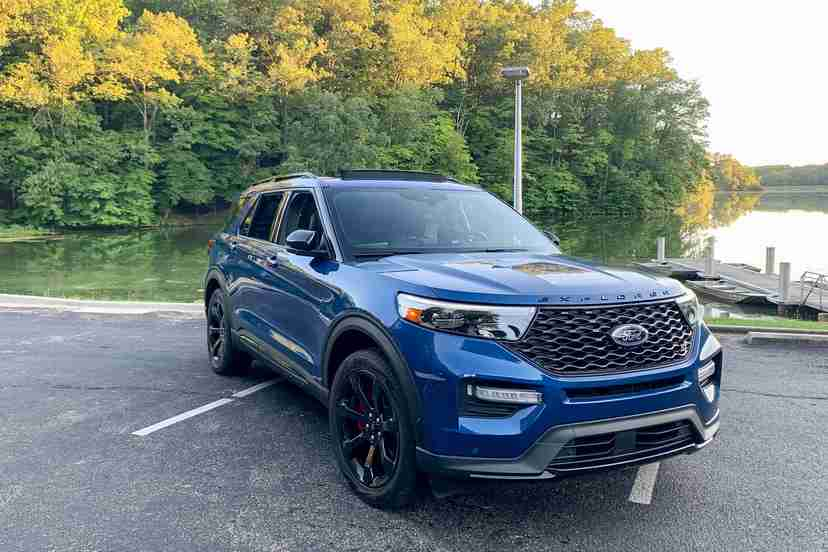 Front angle view of a blue 2020 Ford Explorer