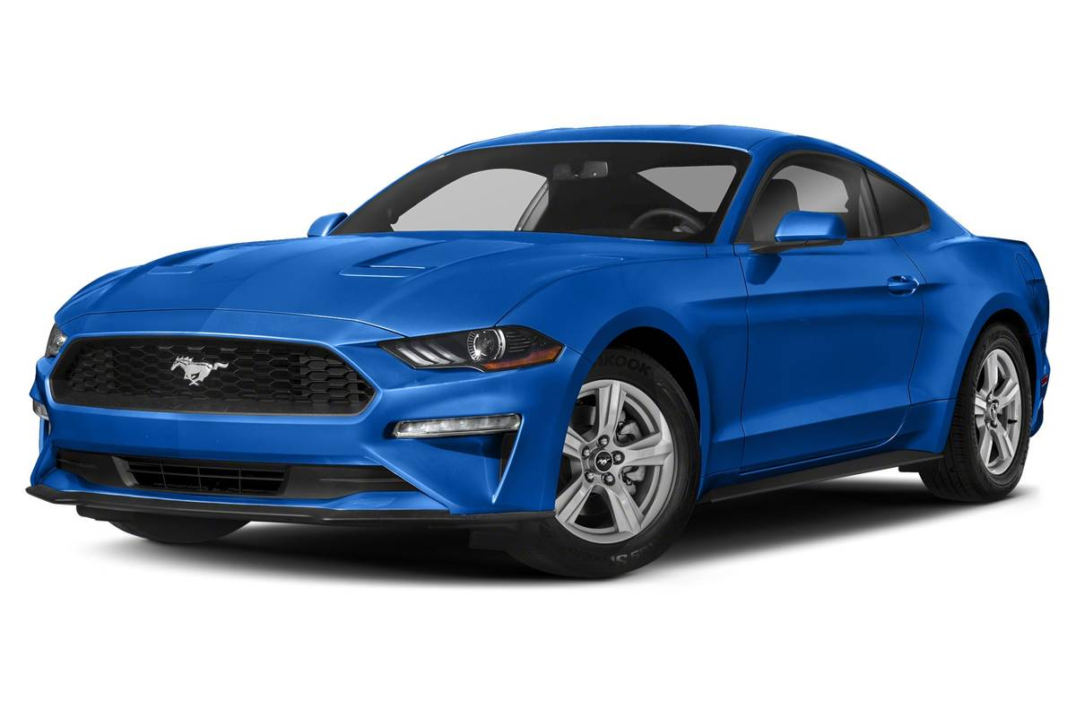 Blue 2020 Ford Mustang front angle view