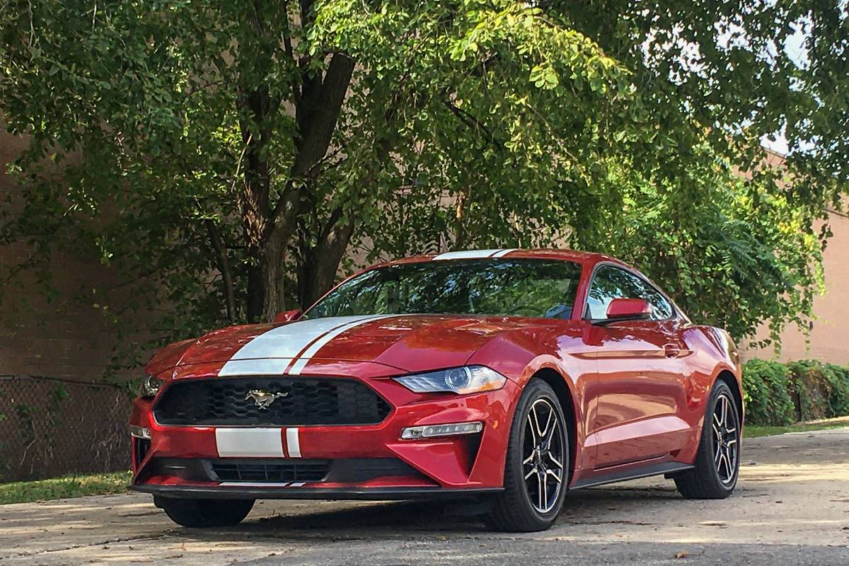 Red 2020 Ford Mustang EcoBoost Premium front angle view