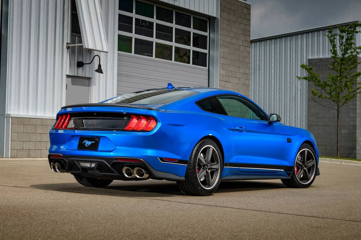 Blue 2021 Ford Mustang Mach 1 rear
