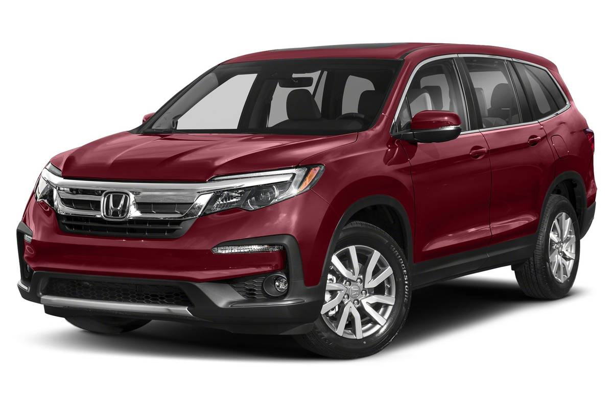 Front angle view of a red 2020 Honda Pilot