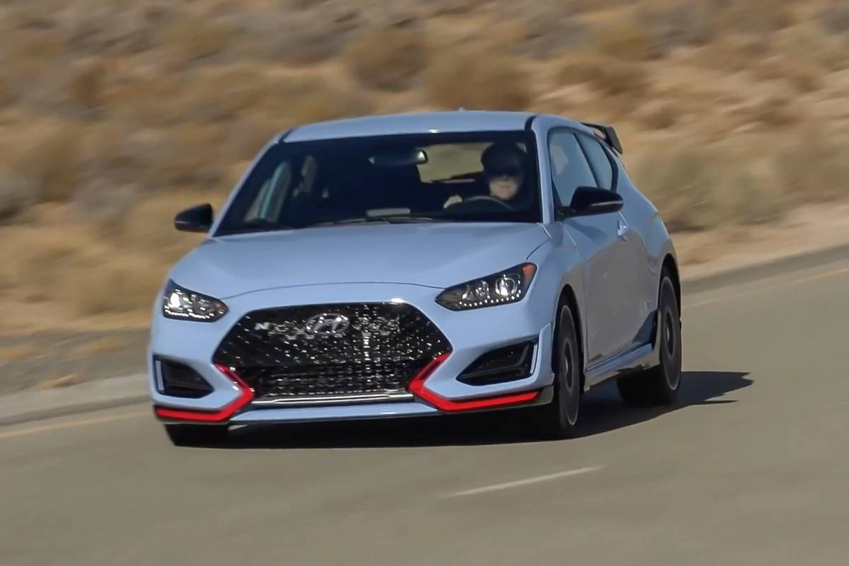 2021 Hyundai Veloster N driving on a road