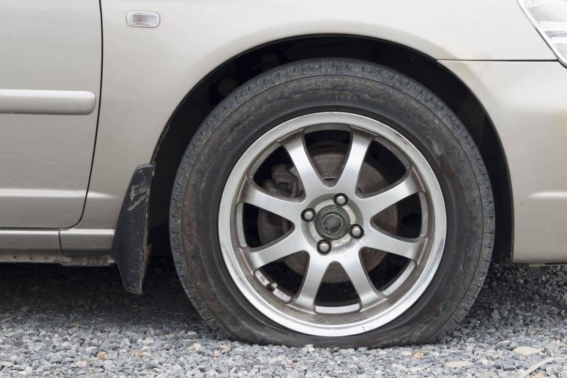 A flat tire due to a slow leak