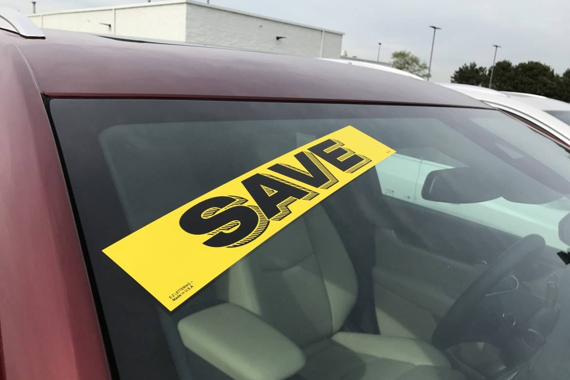 Discount sticker on a car