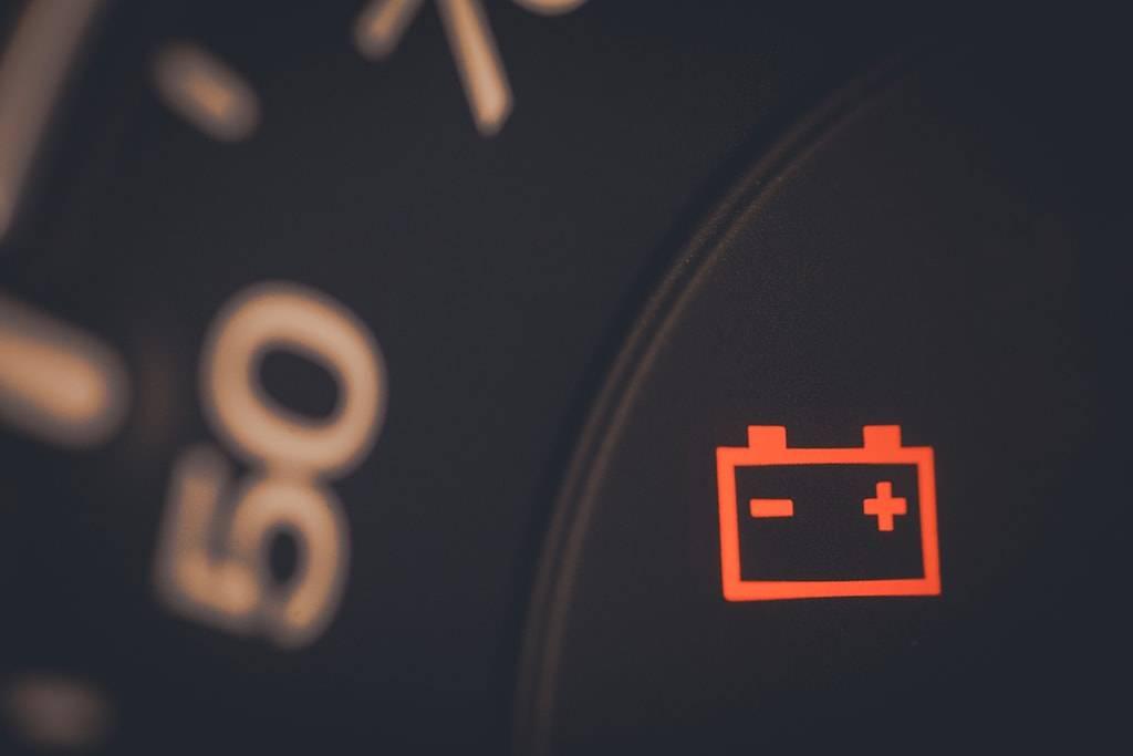 Battery light warning indicator on dashboard