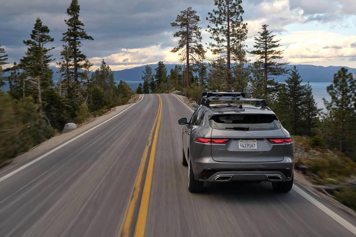 2021 Jaguar F-Pace European model driving on a road