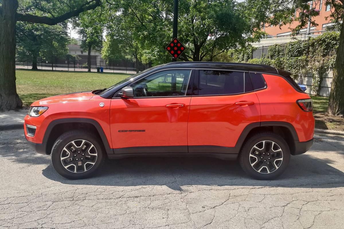 Orange 2020 Jeep Compass side view