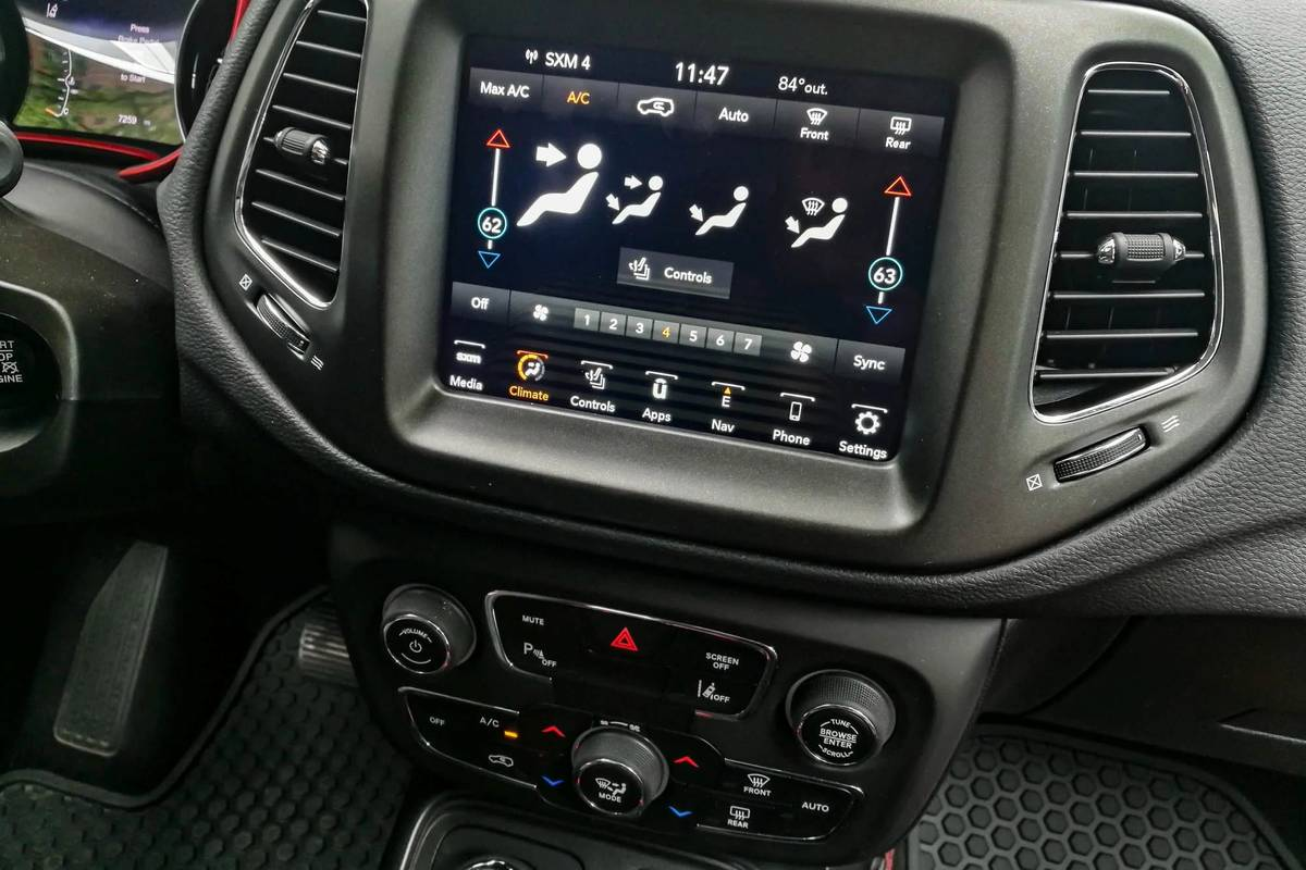 2020 Jeep Compass center stack display and climate control