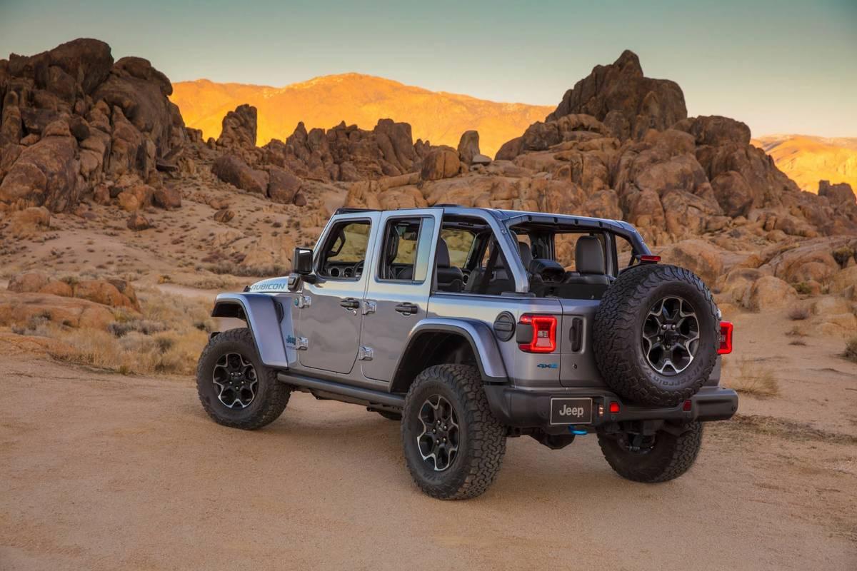 Gray 2021 Jeep Wrangler 4xe in a desert