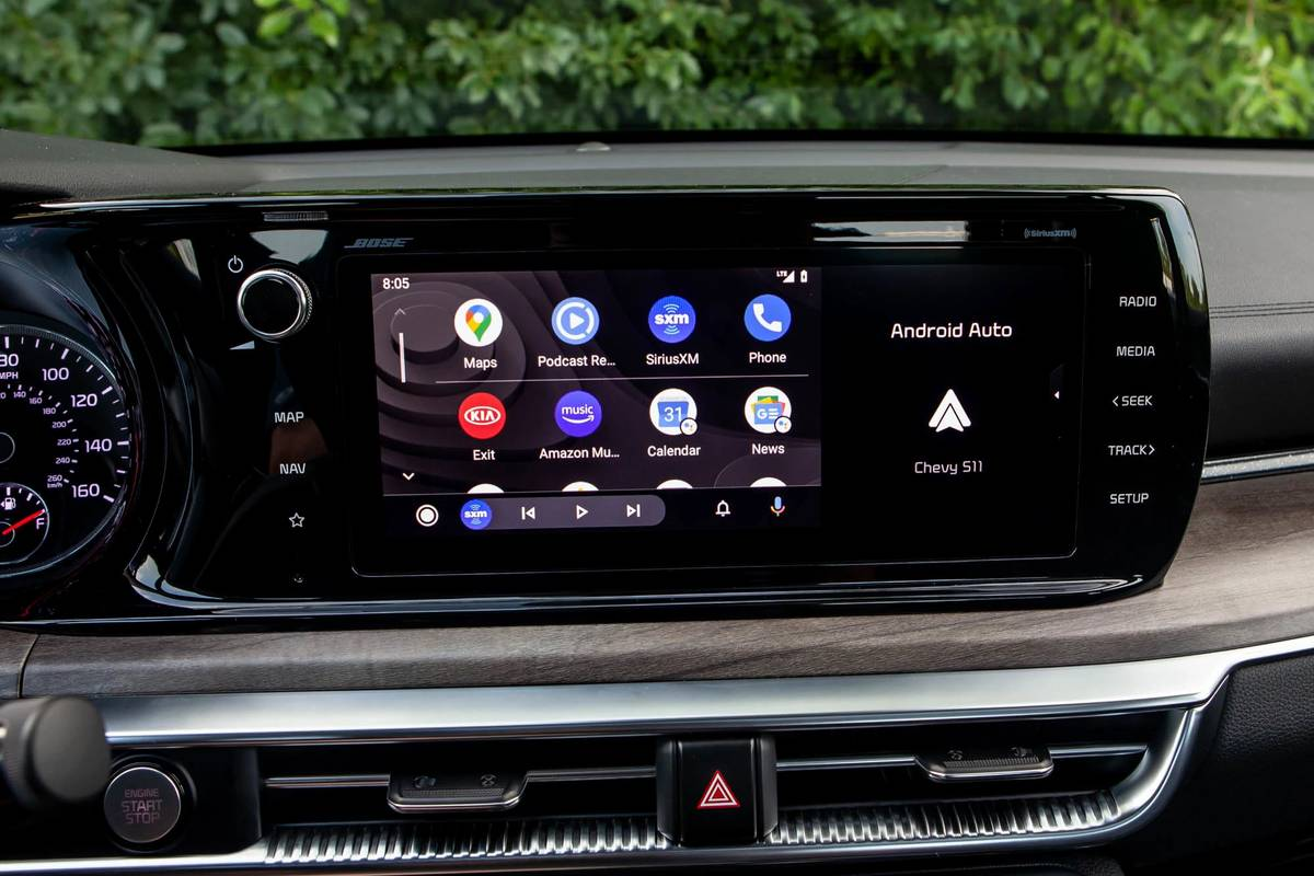2021 Kia K5 GT Line center stack display screen with Android Auto