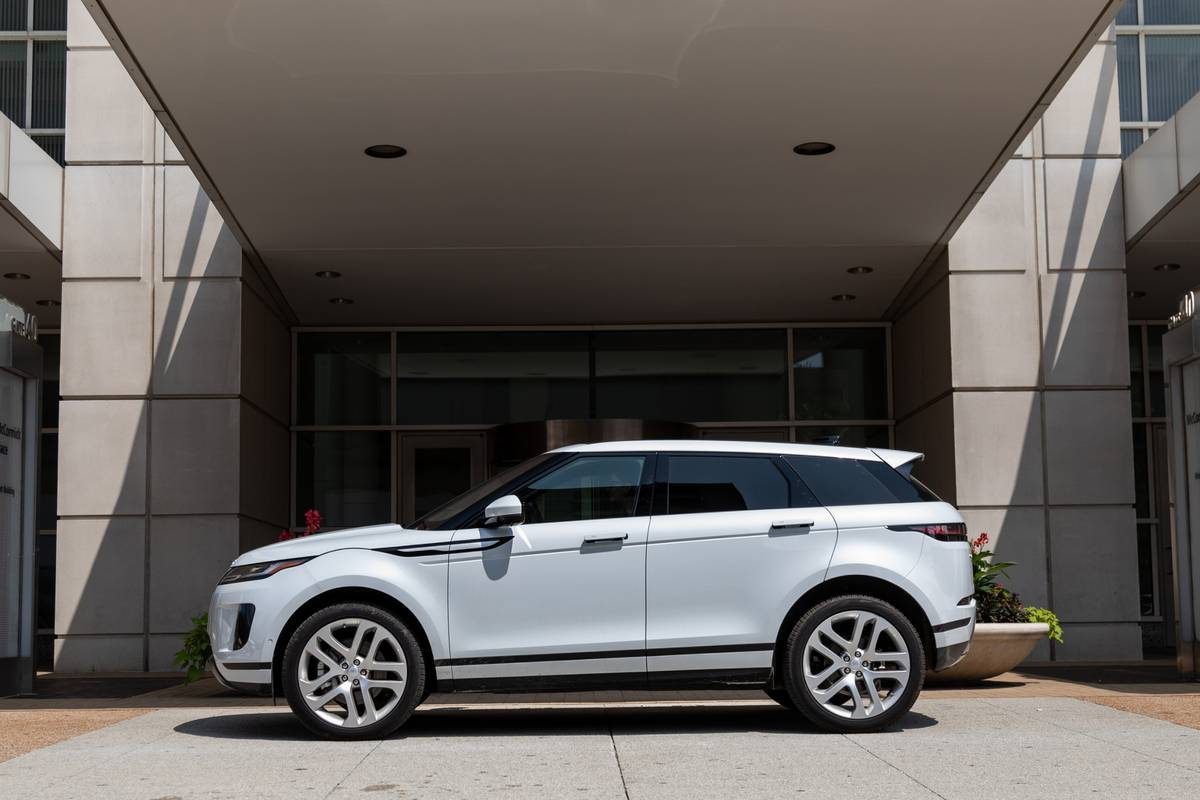 White 2020 Land Rover Range Rover Evoque side view
