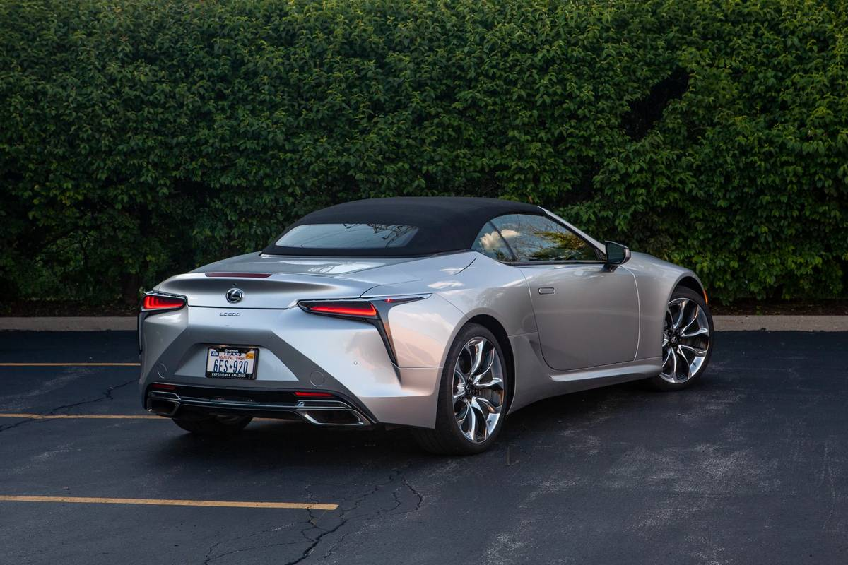 Rear angle view of a 2021 Lexus LC 500 Convertible