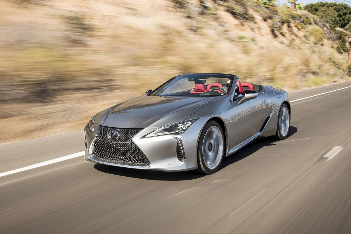 Silver 2021  Lexus LC 500 convertible driving on a road