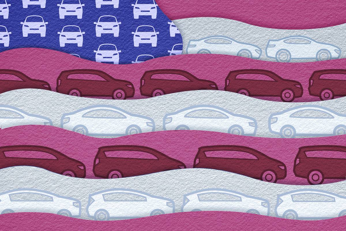 Cars on an American flag graphic