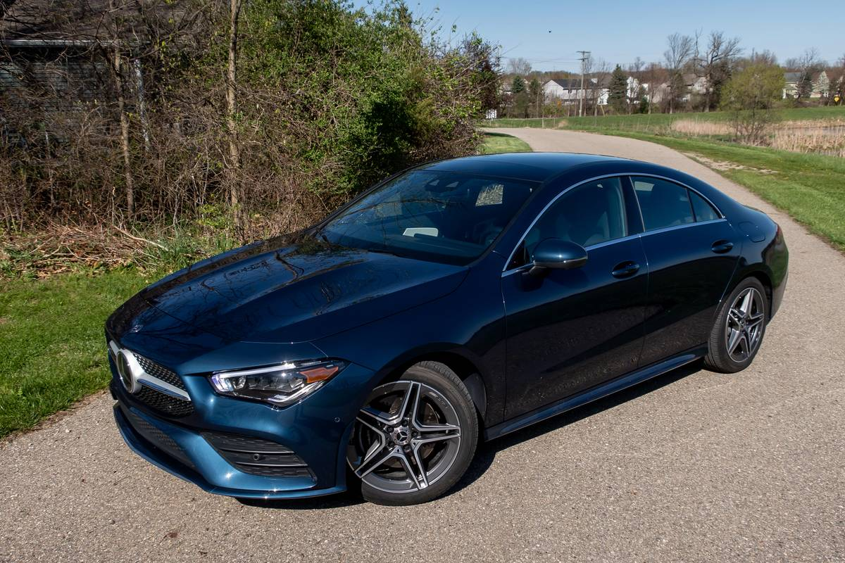Blue 2020 Mercedes-Benz CLA250 front angle view