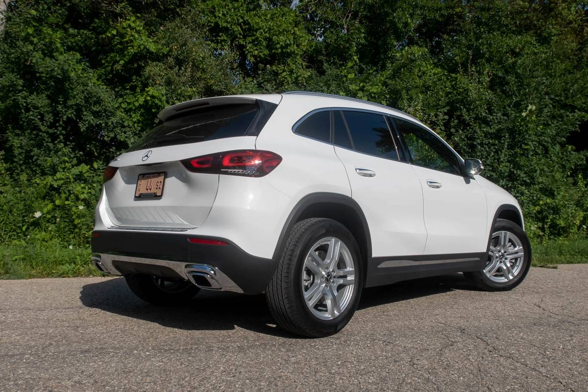 Rear angle view of a white 2021 Mercedes-Benz GLA 250