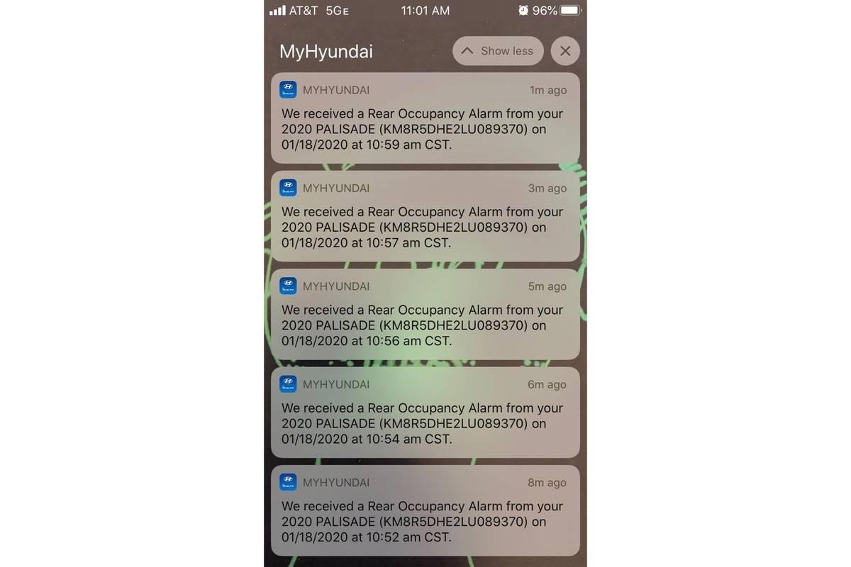 MyHundai app Rear Door Alert notifications