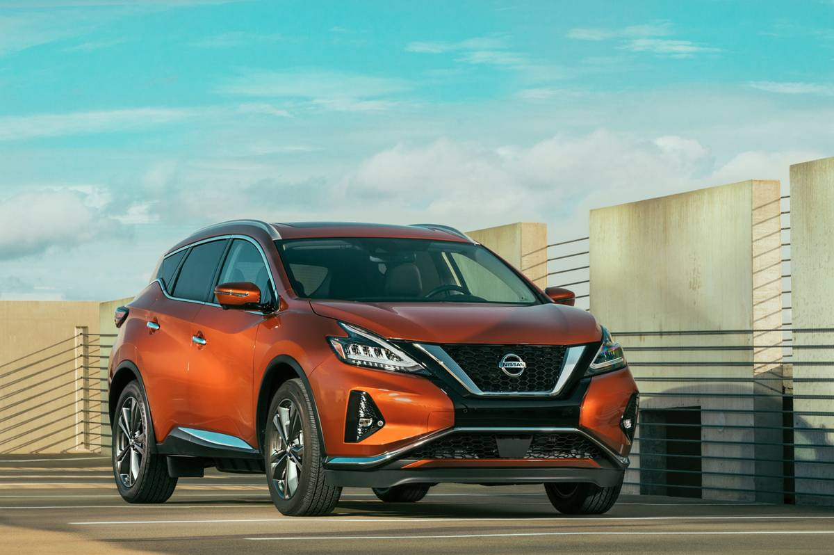 Front angle view of an orange 2020 Nissan Murano