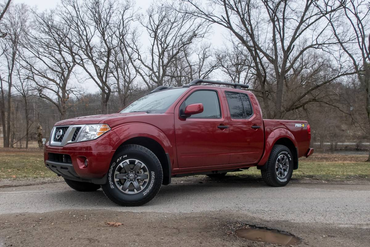 Front angle view of a red 2020 Nissan Frontier Pro-4X