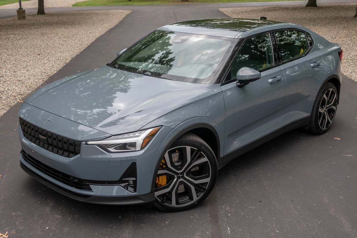 Light blue 2021 Polestar 2 front angle view