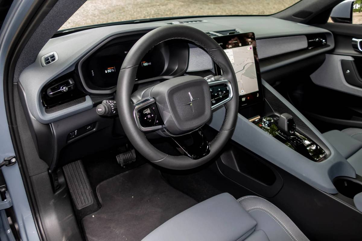 2021 Polestar 2 steering wheel and dashboard