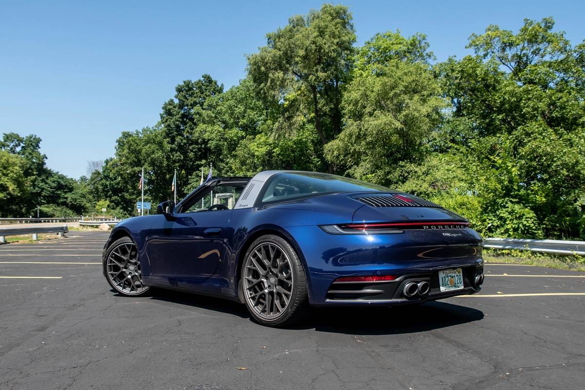 Rear angle view of a blue 2021 Porsche 911 Targa 4