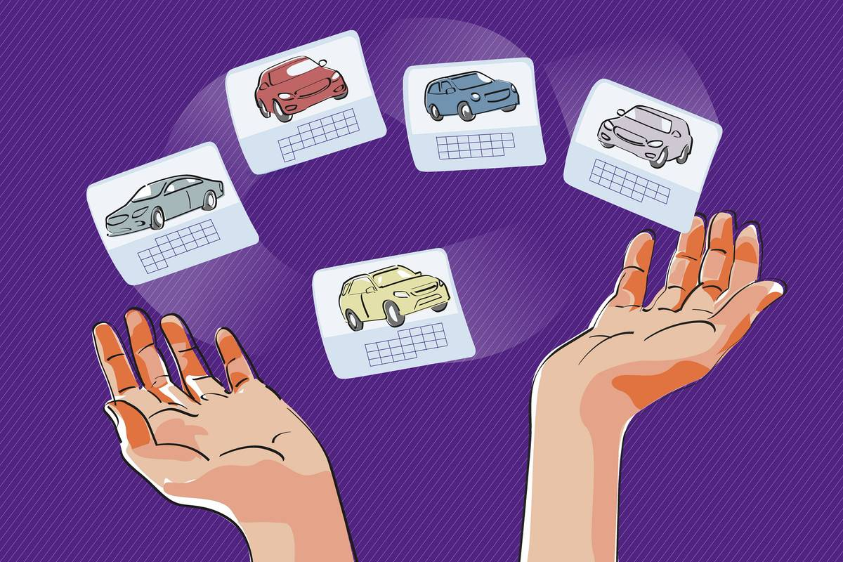 An illustration of hands juggling different cars