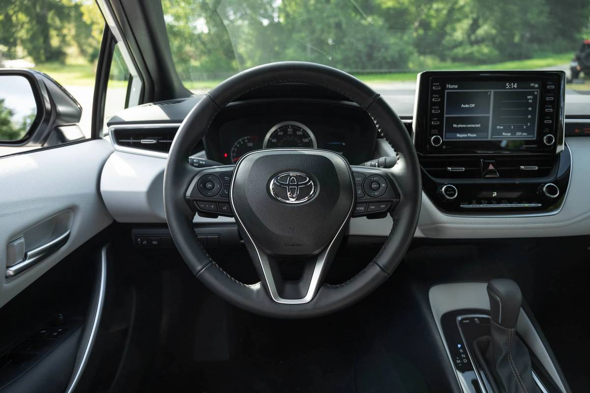 2021 Toyota Corolla Apex steering wheel and center stack display screen
