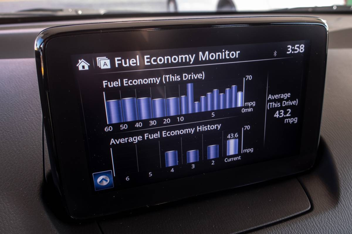 2020 Toyota Yaris center stack display touchscreen with fuel economy monitor