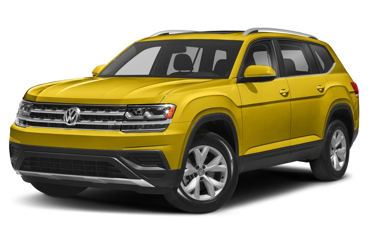 Yellow 2018 Volkswagen Atlas front angle view