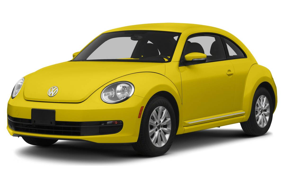 Front angle view of a yellow 2012 Volkswagen Beetle